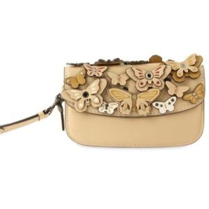 COACH leather 3D butterfly clutch